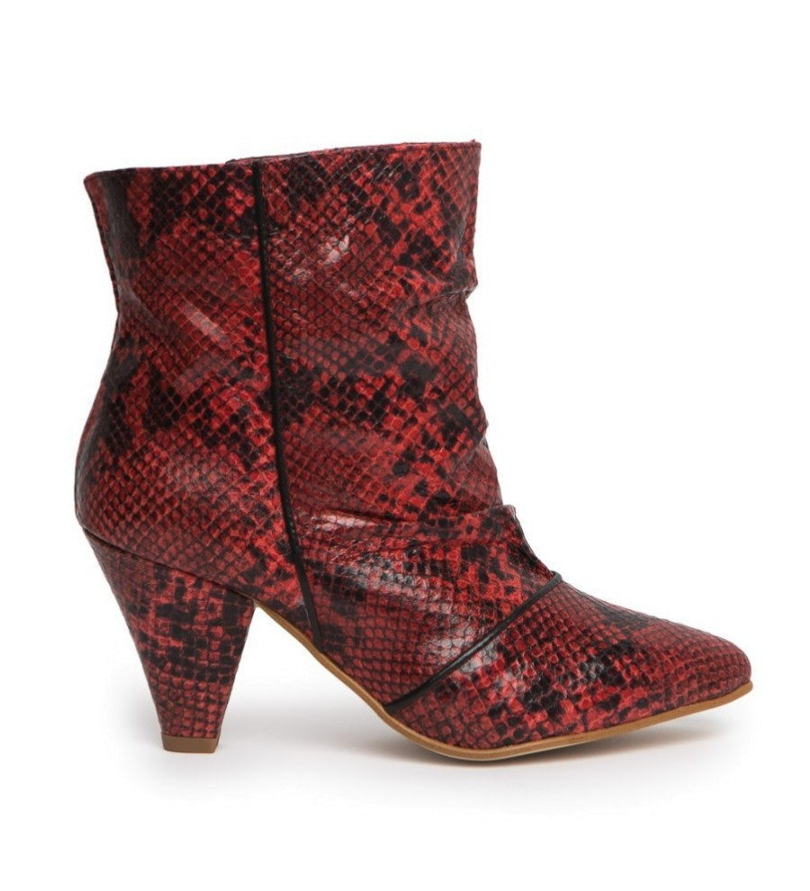 Snake-Effect Leather Ankle Boots