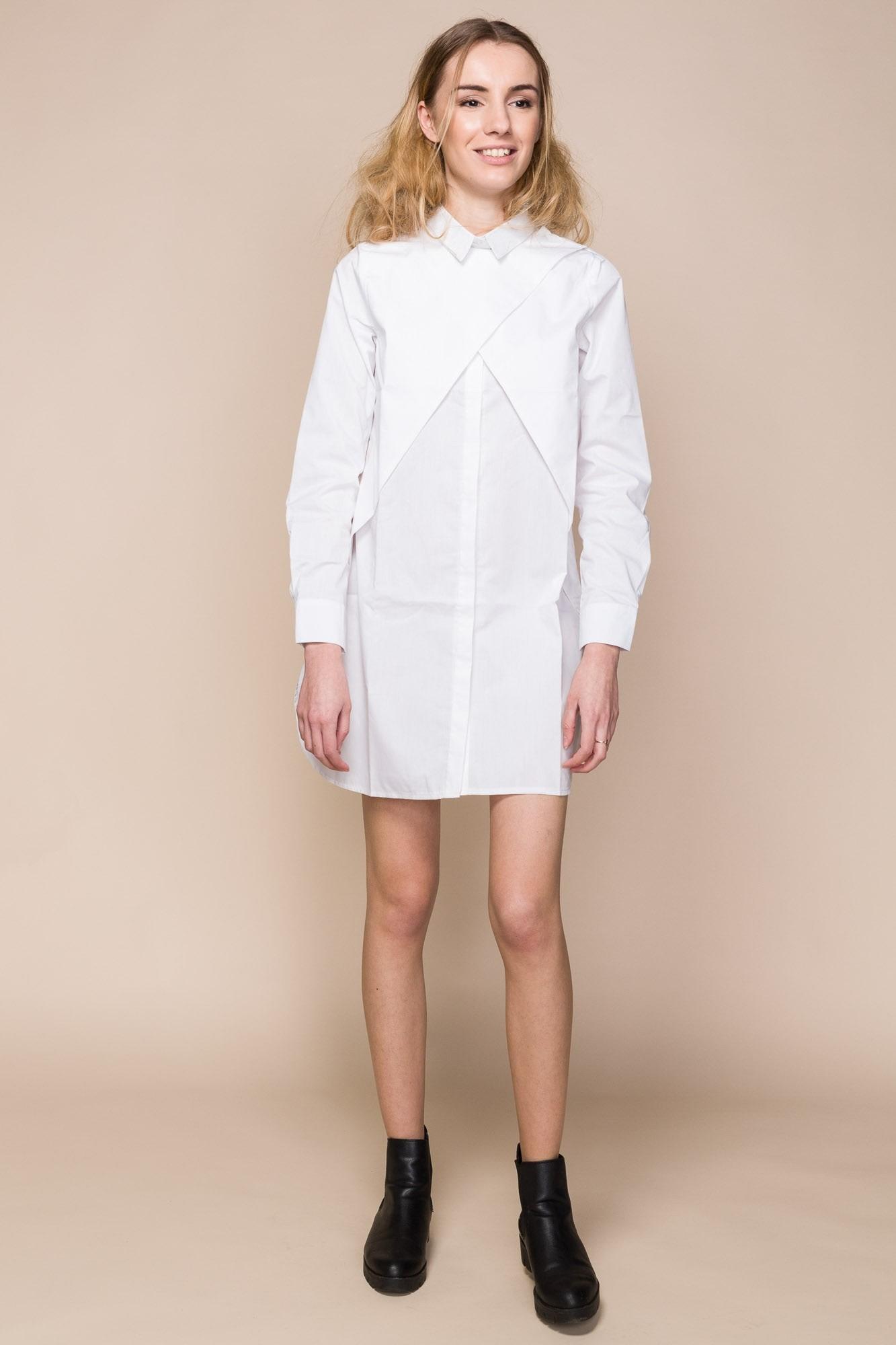 White Cotton-Poplin Shirt Dress