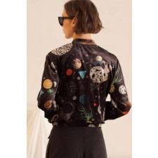 Galaxy Print Bomber Jacket