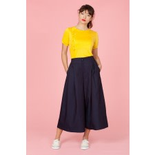 Wide-Leg Denim Culottes