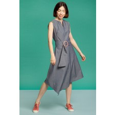 Asymmetric Checked Midi Dress