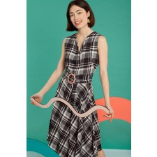 Asymmetric Plaid Midi Dress