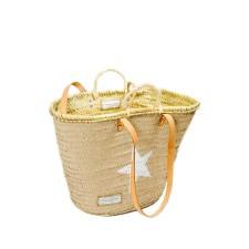Beige Wicker Basket Bag