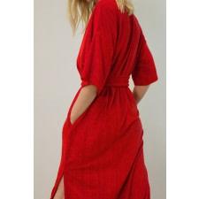 Belted Velour Midi Dress