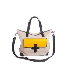 Tri-Color Leather Shoulder Bag