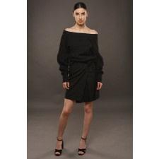 Black Wrap Mini Skirt