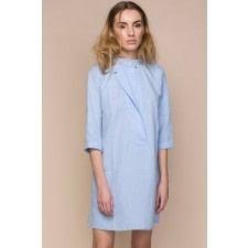 Blue Poplin Mini Shirt Dress