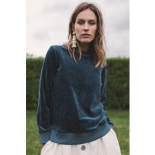 Blue Organic Velour Sweatshirt
