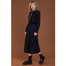 Black Cropped Wide-Leg Trousers
