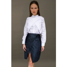 Denim Asymmetric Wrap Skirt