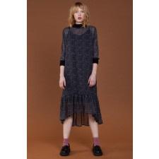 Dot-Print Midi Dress