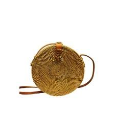 Gold Woven Rattan Bag