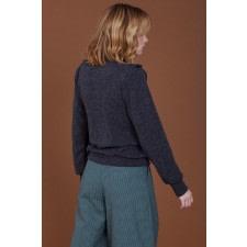 Grey Ruffle Long-Sleeve Sweater