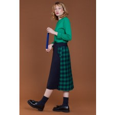 High-Waist Checked Midi Skirt