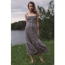 Lulu Check Linen Midi Dress