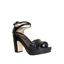 Ruffle Leather Platform Sandals