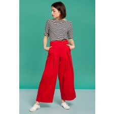 Red Belted Wide-Leg Trousers
