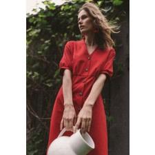 Red Organic Cotton Midi Dress