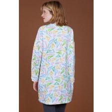 Ruler-Print Oversized Organic Dress