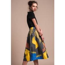 Abstract-Print Cotton Midi Skirt