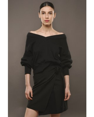 Black Reversible Oversized Jumper