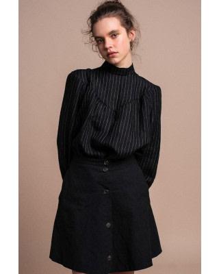 Black Organic Linen Blouse