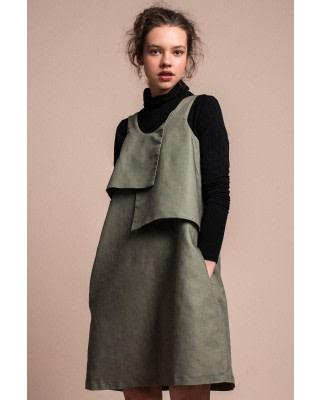 Nipo Linen-Blend Panel Dress
