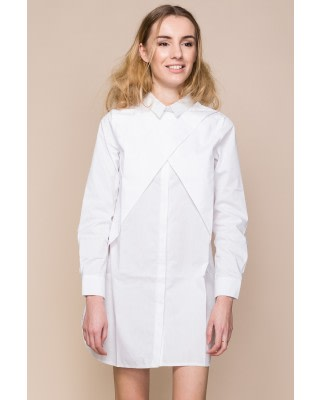 White Cotton-Poplin Shirt Dress