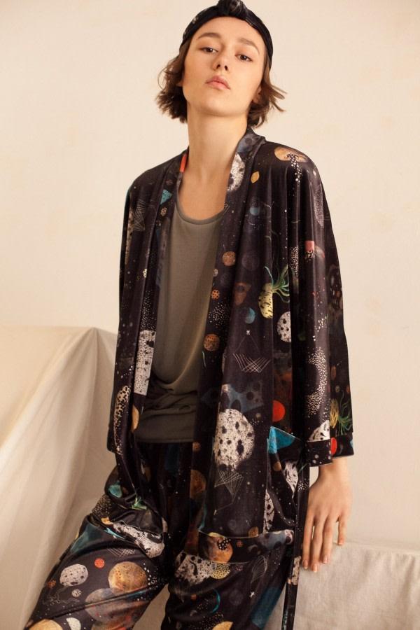Galaxy Print Velvet Kimono