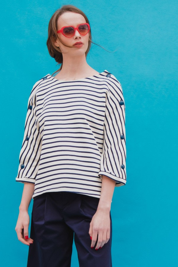 Striped Navy Jersey Top
