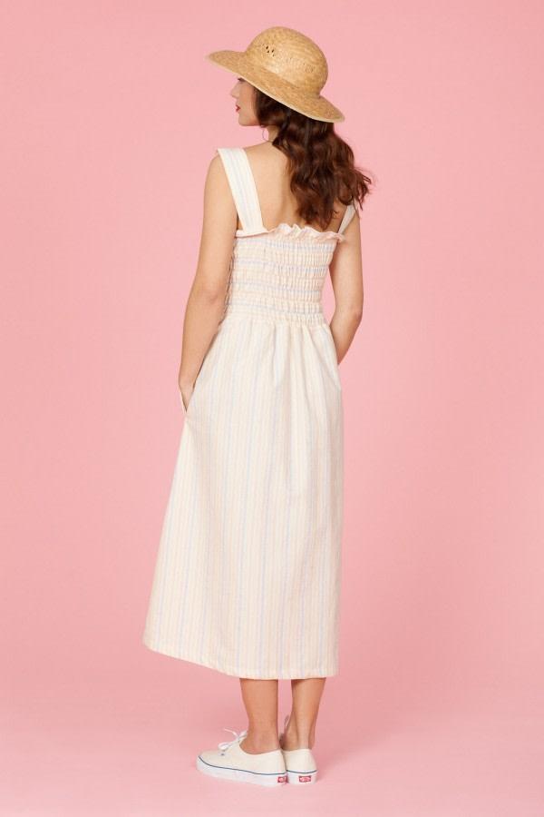Cherry Striped Midi Dress