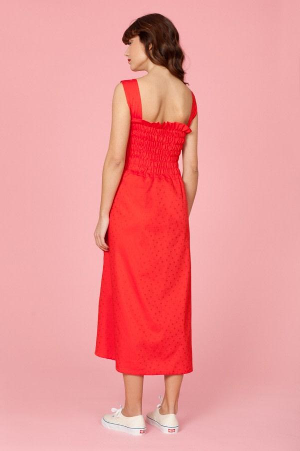 Cherry Cotton Midi Dress