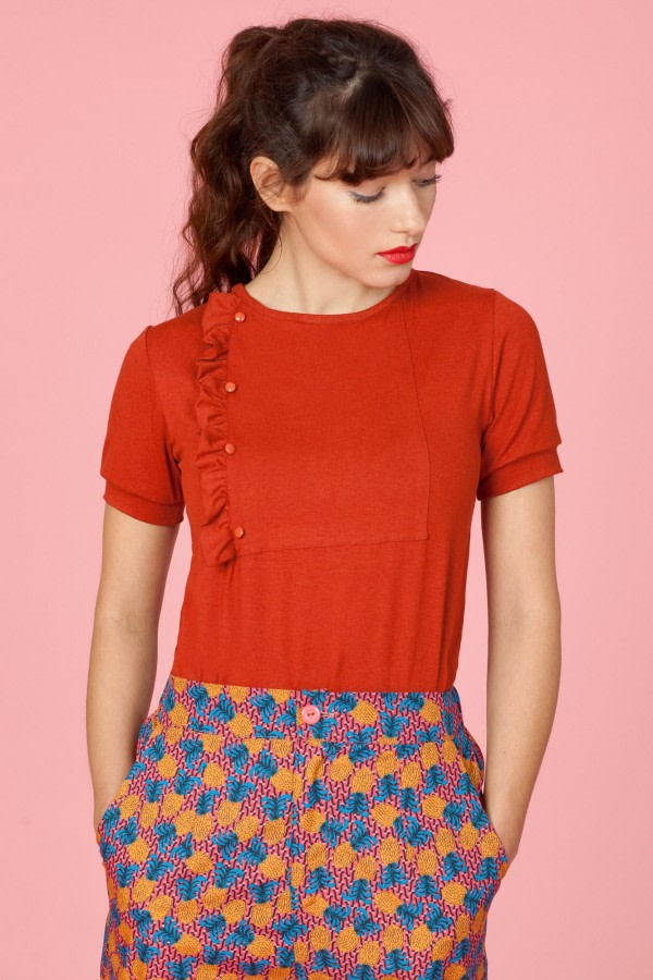 Terracotta Ruffle T-Shirt