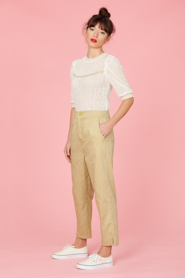 Khaki High-Waisted Trousers