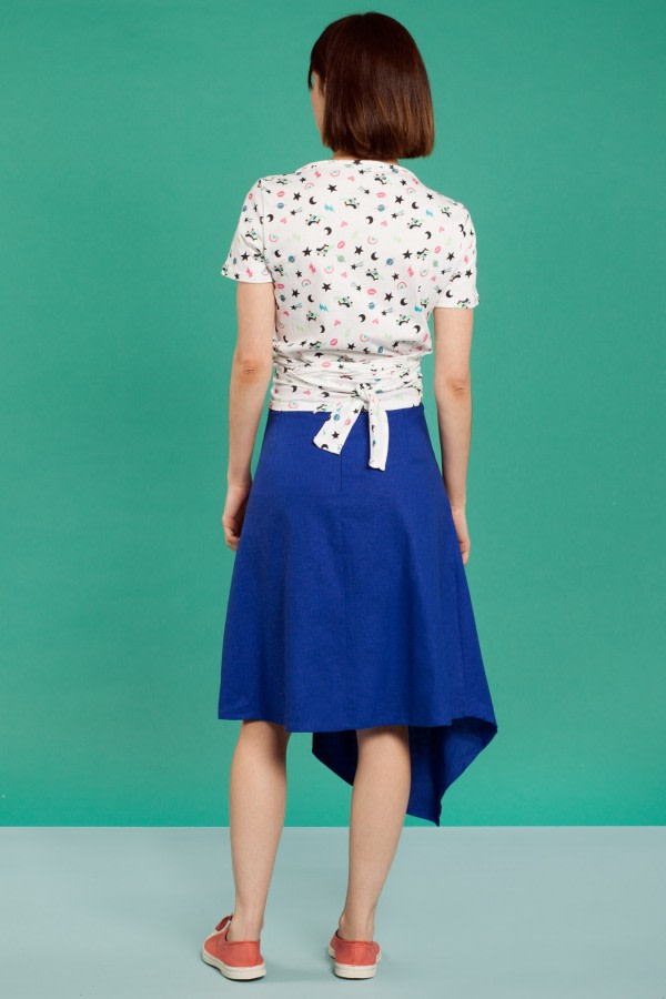 Asymmetric Linen Midi Skirt