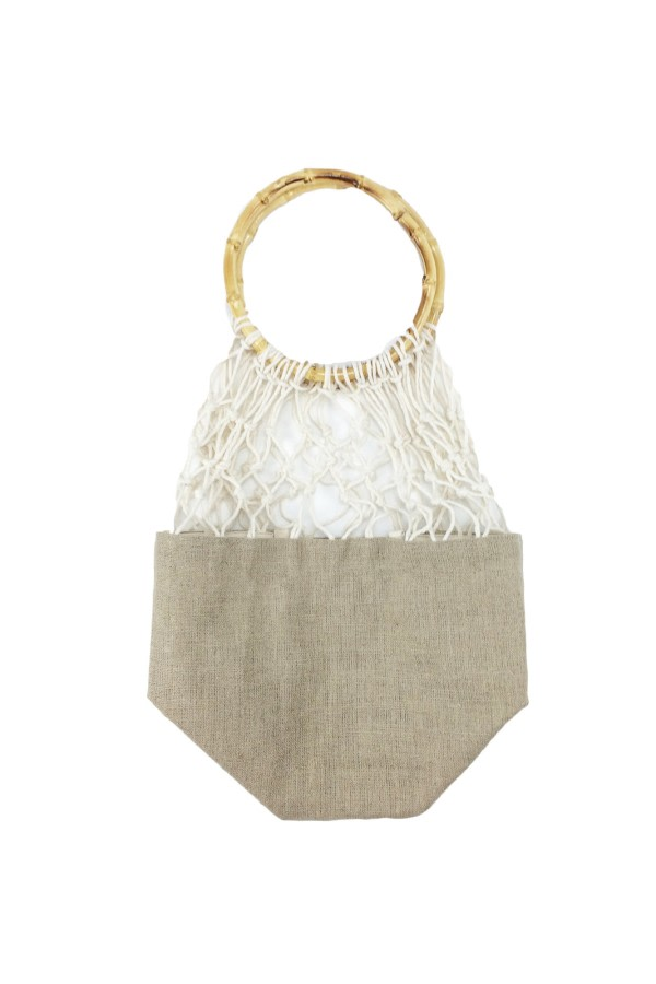 Bamboo-Handle Woven Bag
