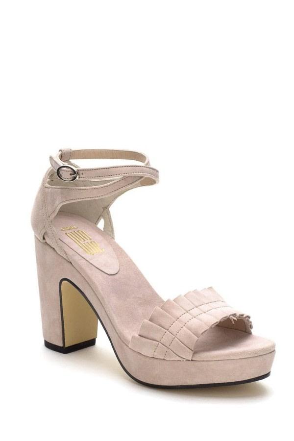 Beige Ruffle Platform Sandals