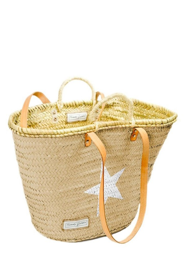 Beige Wicker Basket Bag