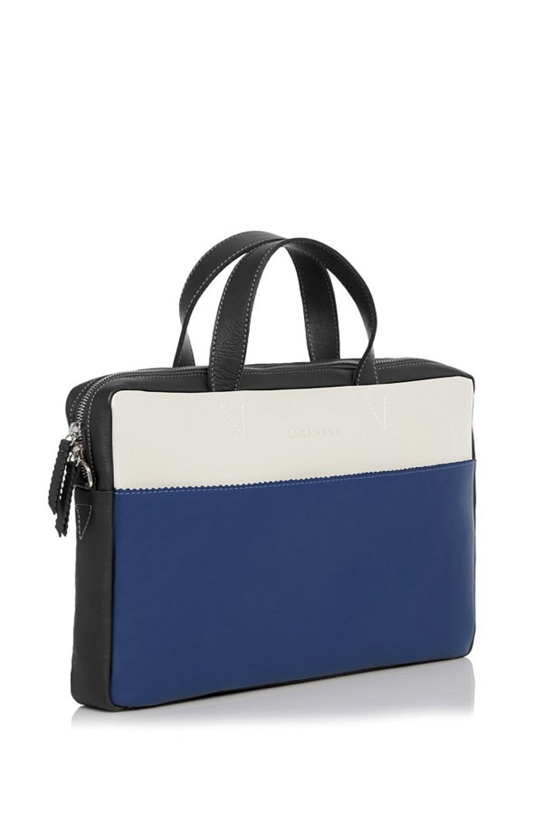 Tri-Color Leather Portfolio Bag