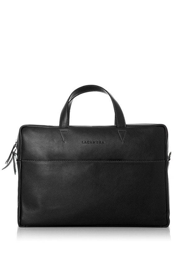 Maxi Black Leather Briefcase