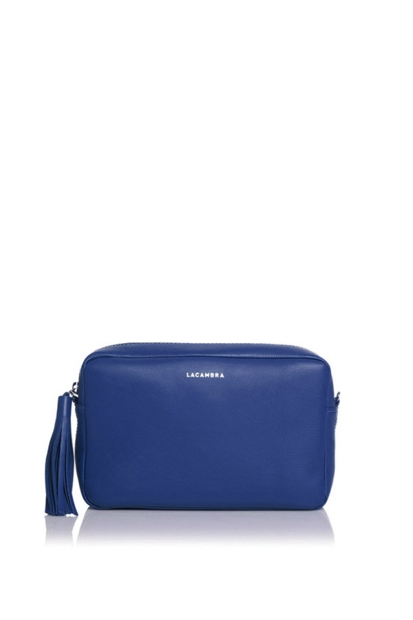 Deep Blue Leather Crossbody Bag
