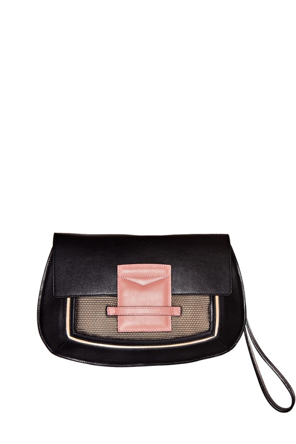 Helena Black Leather Clutch