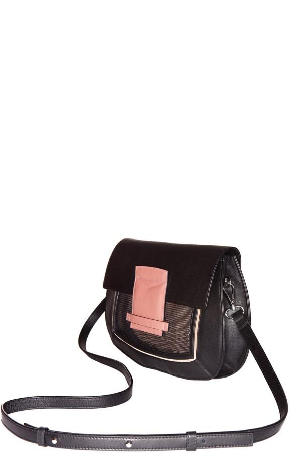 Helena Black Leather Clutch