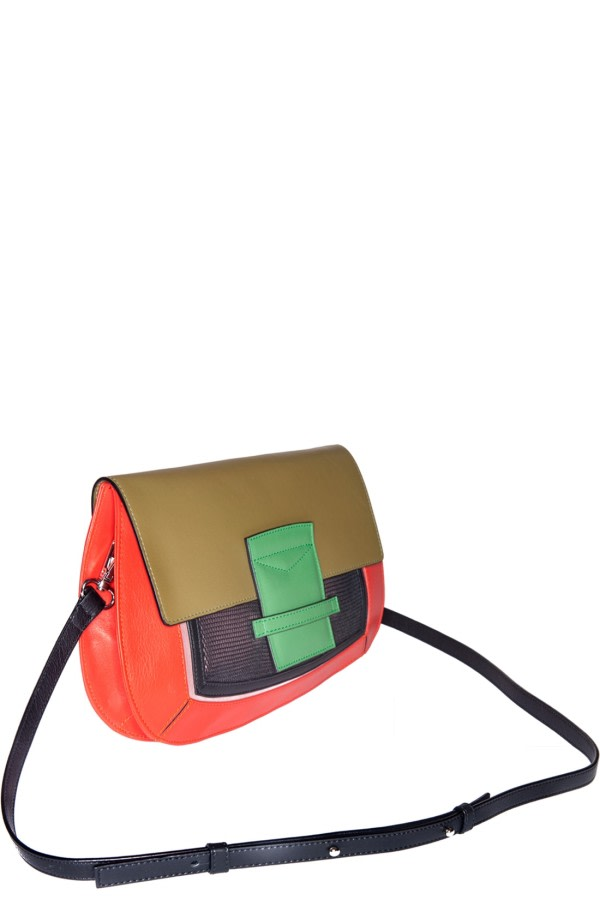 Helena Color-Block Leather Clutch
