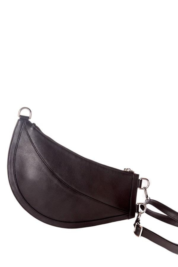 Cuerno Black Leather Clutch