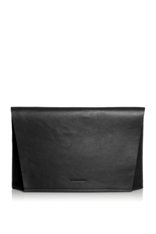 Capote Black Leather Clutch