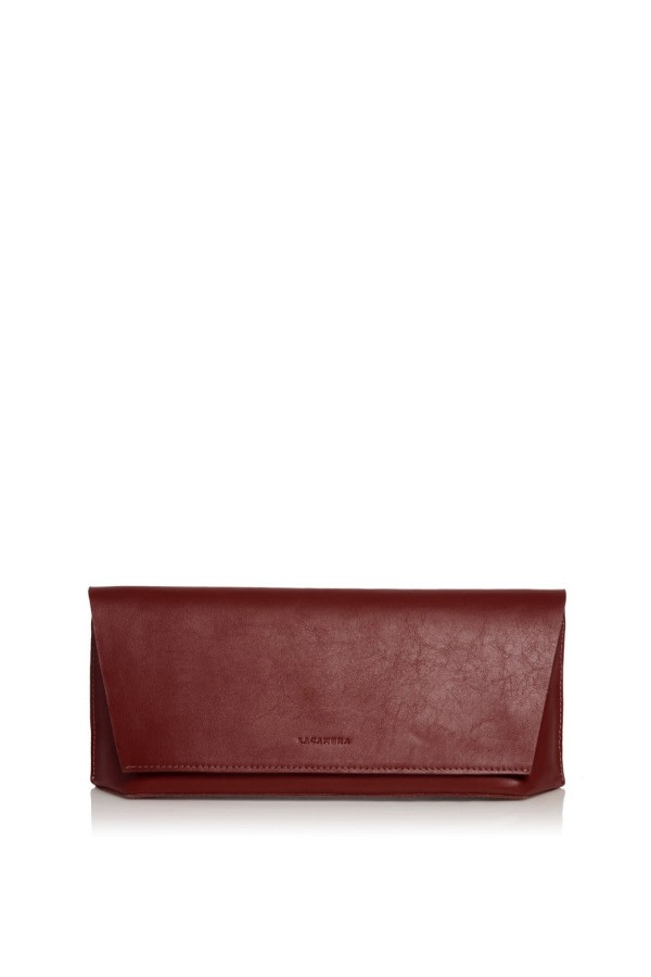 Capote Mini Bordeaux Leather Clutch