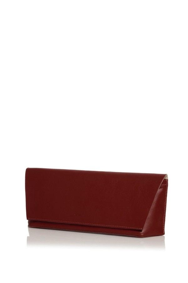 Capote Mini Bordeaux Leather Clutch