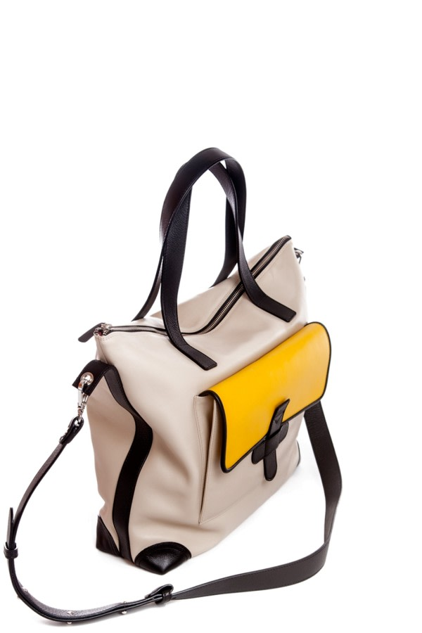 Tri-Color Leather Shoulder Bag