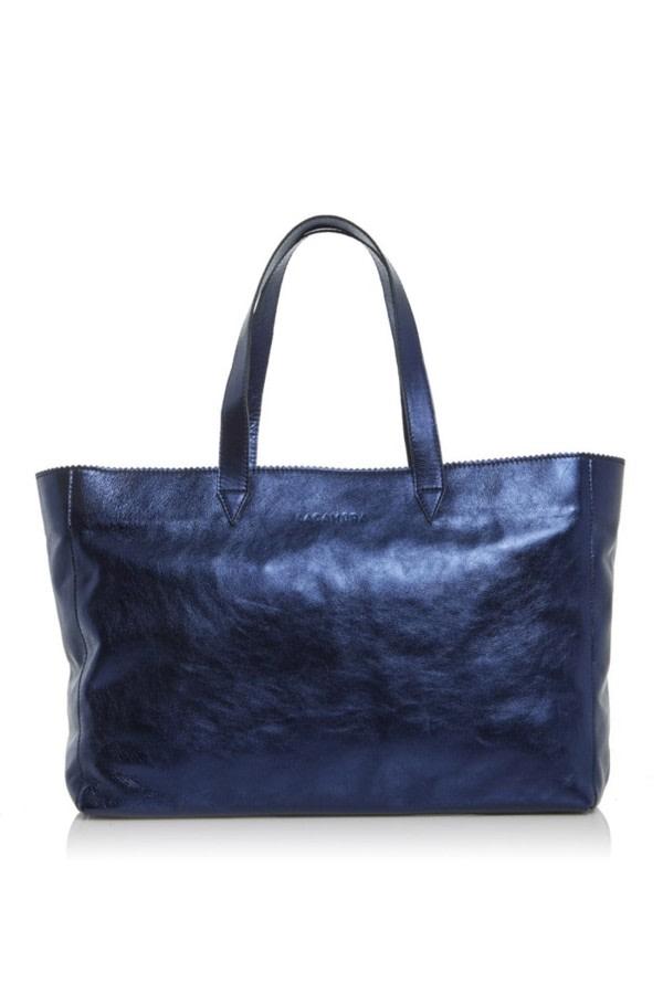 Metallic Leather Shopper Bag